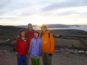 sunset over the shore of Lake Titicaca