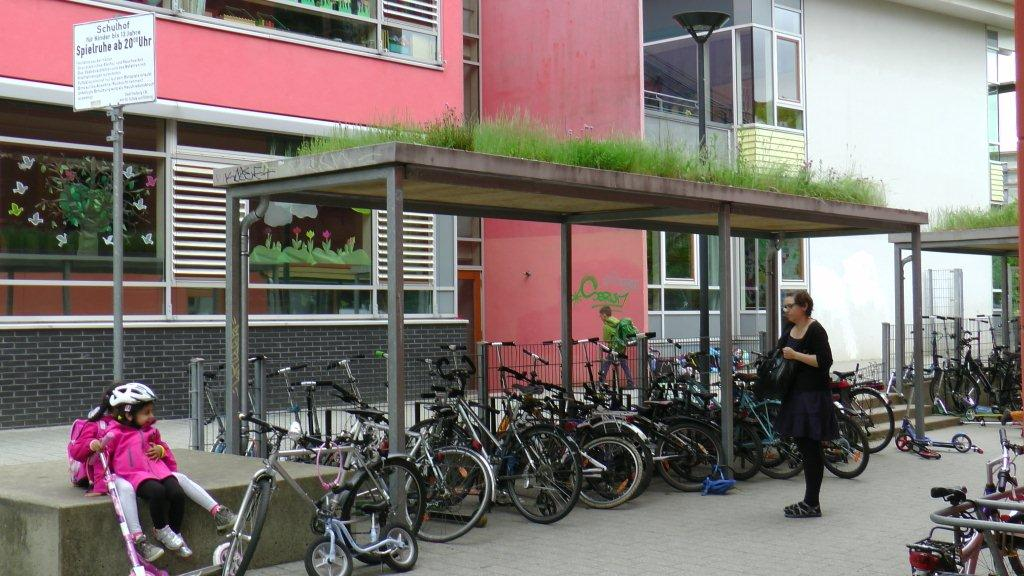 This one, at a school in Vauban, even has a green roof!