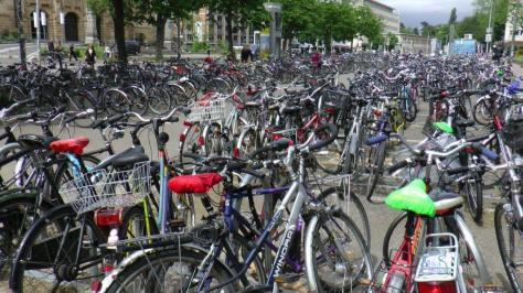 At train stations, work places and educational institutions, there are lots of bikes.