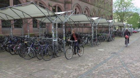 Outdoor covered bicycle parking