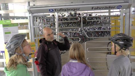 Our guide in Freiburg is showing us the indoor, secure bike parking at the central train station.