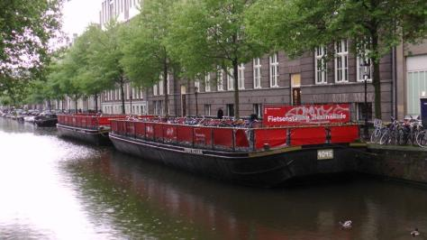 In Amsterdam, there is such a need for bike parking spaces that they turned these two barges into floating parking lots!
