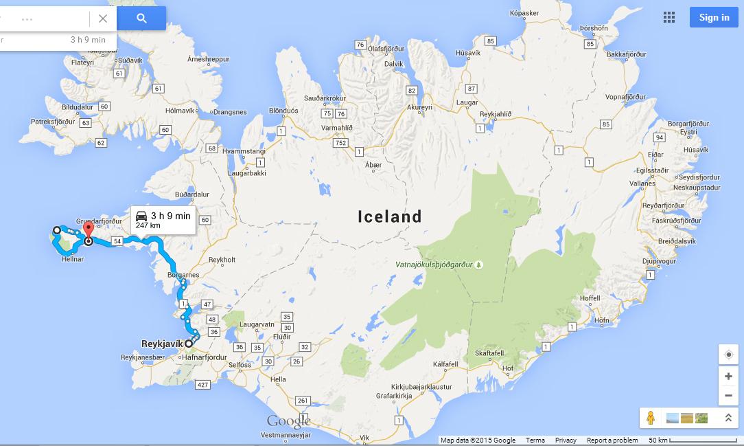 Snaefellsnes peninsula route